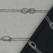 Rasch Fabric Reversible Curtain Decorative Fabric Raumhoch Sailor's Stripe Grey 308 cm