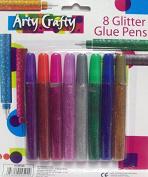 Pack Of 8 Arty Crafty Glitter Glue Pens Assorted Glitter Glue Craft Fun Art Pen