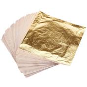 Biging 100 Sheets Imitation Gold Leaf 14 by 14 cm for Art Crafts Decoration, Gilding Crafting and Frames