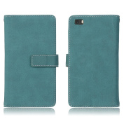 Huawei P8 lite Flip Wallet Case, Huawei P8 lite Case Leather [Cash and 9 Card Slots], BONROY® Retro Premium PU Leather Stand Flip Phone Case with Magnetic Card Slot Holder Wallet Book Design Fordable Cover for Huawei P8 lite - Blue