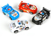 4 Assorted Colour Friction Rev Em Up Pull Back Police Cop Cars Vehicle Toys