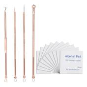 Anself 4pcs Blackhead Tool 10pcs Alcohol Pad Stainless Steel Acne Pimple Needle with Sterilised Cotton Pad