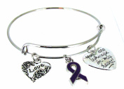 Expandable Bangle Purple Awareness Ribbon Always in my heart