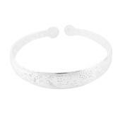 Unique Bargains Floral Chinese Print Silver Tone Wrist Bangle Bracelet for Women