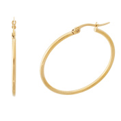 Gold-Tone Stainless Steel Round and Polished Hinge Hoop Earring