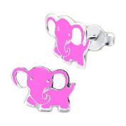Children's Pink Elephant Sterling Silver Earrings