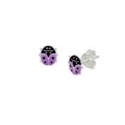 Purple ladybug enamel earrings in Sterling Silver