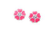 Sweet Pink Enamel and Crystal Flower Stud Earrings