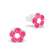 Children's Pink Flower Earrings in Sterling Silver