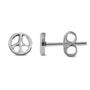 Children's Sterling Silver stud earrings in a peace design