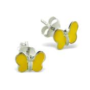 Children's Yellow Butterfly Earrings in Sterling Silver