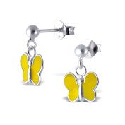 Delicate Children's Sterling Silver and Yellow Enamel Butterfly Earrings