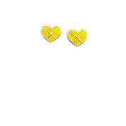 Yellow Enamel Heart stud earrings in sterling silver