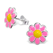 Colourful Children's Sterling Silver and Bright Pink Enamel Chamomile Stud Earrings
