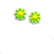 Colourful Children's Sterling Silver and Bright Green Enamel Chamomile Stud Earrings