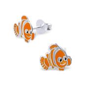 Children's Sterling Silver Earrings in an Orange Fish Design