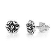 Flowery Plumeria Sterling Silver Stud Earrings