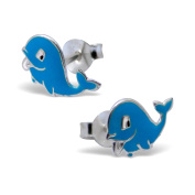 Beautiful Childrens Sterling Silver and Blue Enamel Whale Stud Earrings