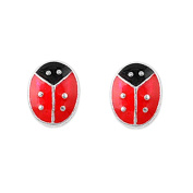 Adorable Sterling Silver Children's Lady Bug Earrings with Red and Black Enamel