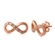 Timeless Rose Gold plated Sterling Silver Infinity Earrings with Cubic Zirconia