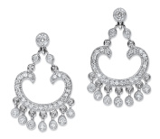 1.13 TCW Round Cubic Zirconia Chandelier Drop Earrings Platinum-Plated 3.2cm