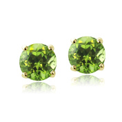 Elements Peridot August Birthstone Stud Earrings in Gold Tone