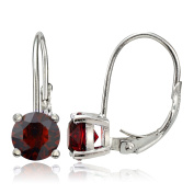 Sterling Silver Dark Red Elements Leverback Earrings