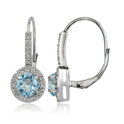 Sterling Silver 2ct Blue and White Topaz Round Leverback Earrings