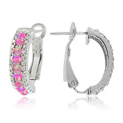 Sterling Silver Created Pink Opal & Diamond Half Hoop Earrings