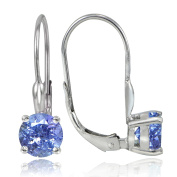 Sterling Silver 1.8ct TGW Tanzanite 6mm Round Leverback Earrings