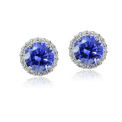 Platinum Plated Sterling Silver 100 Facets Blue Violet Cubic Zirconia Halo Stud Earrings