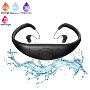 Waterproof Mp3 Player Earphones,Tayogo 2017 Upgraded 8GB Swimming Headset Under Water Music Player for Swimming,Surfing,Diving-Black