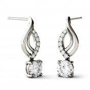 Charles & Colvard Forever Brilliant 5.0mm Round Moissanite Drop Earrings, 1.14cttw DEW