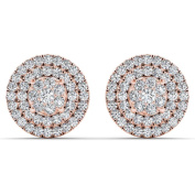 De Couer 10k Rose Gold 1/2ct TDW Diamond Cluster Double Frame Stud Earrings - Pink