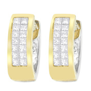 14kt Two-Toned Gold Round and Princess-cut Diamond Earrings