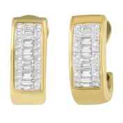 14k Yellow Gold 1ct TDW Diamond Princess and Baguette Earrings