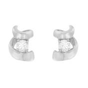 Espira 10Kt White Gold 0.1 CTTW Round cut Diamond Earring