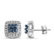 JewelonFire Sterling Silver 1/10ct TDW Blue Diamond Earrings
