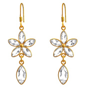 Orchid Jewellery Mfg Inc Orchid Jewellery 18k Yellow Gold Over .925 Sterling Silver 10ct. Genuine White Topaz Gemstone Dangle Earrings