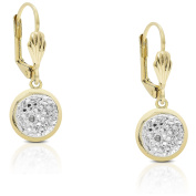 Finesque Gold Overlay Diamond Accent Leverback Dangle Earrings