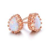Peermont Jewellery Rose Gold Plated White Fire Opal Teardrop Crown Stud Earrings