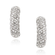 DB Designs Sterling Silver White Diamond Accent J-style Earrings