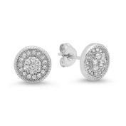 Piatella Ladies Brass Cubic Zirconia Stud Earrings with Flower Inlay