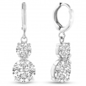 Adoriana Silver Over Brass Double Hoop Earrings