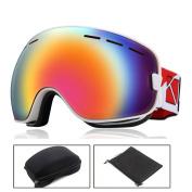 O'show Ski Snowmobile Snowboard Goggles Anti-fog UV400 Protect Unisex Glass WH