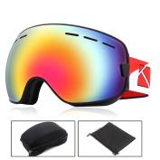 O'show Ski Snowmobile Snowboard Goggles Anti-fog UV400 Protect Unisex Glass Bk
