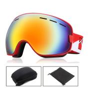 Unique Bargains O'show Anti-fog UV400 Protect Ski Snowmobile Snowboard Goggles Unisex Glass RD