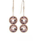 5th & Main Rose Gold over Sterling Silver Hand-Wrapped Double Amethyst Stone Earrings