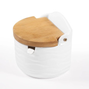 Sugar Bowl, 77L Glass Sugar Bowl with Sugar Spoon and Bamboo Lid for Home and Kitchen - Modern Design, White, 8.4 OZ