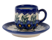 Traditional Polish Pottery, Handcrafted Ceramic Espresso Cup and Saucer 100ml, Boleslawiec Style Pattern, F.301.PANSY